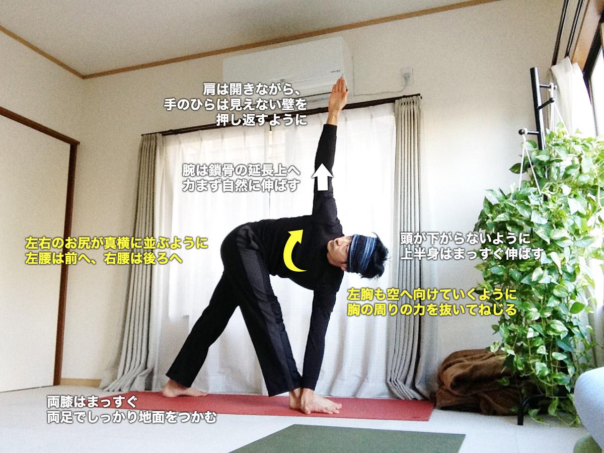 パリヴリッタトリコーナーサナ(ねじった三角のポーズ)〜骨盤矯正、体幹を強く柔軟に〜