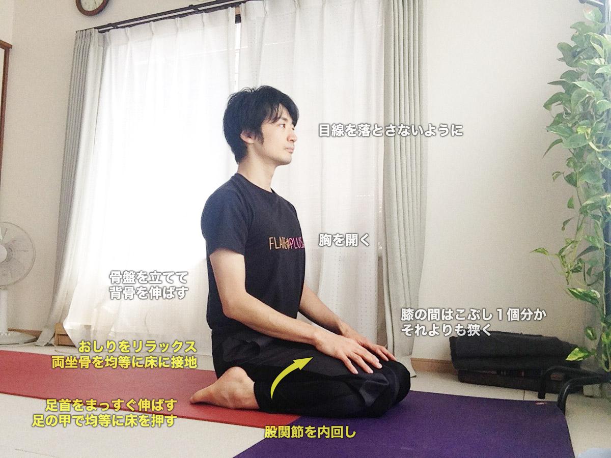 ヴィラーサナ(割座・英雄坐・ヴィーラーサナ)〜股関節を内回し・瞑想にも適した坐法〜