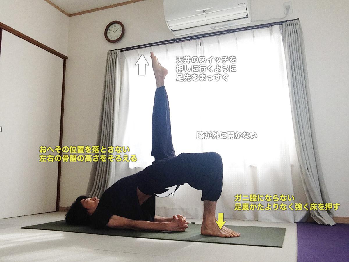 エーカパーダセツバンダサルヴァンガーサナ(一本足の橋のポーズ)〜肩こり改善・体幹強化・下半身の血行を促進〜