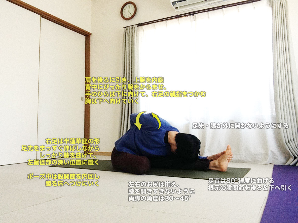 アルダバッダパドマパスチモッターナーサナ(半蓮華座を組んで足先をつかんだ片脚前屈のポーズ)〜お腹をマッサージ、股関節を柔軟に〜