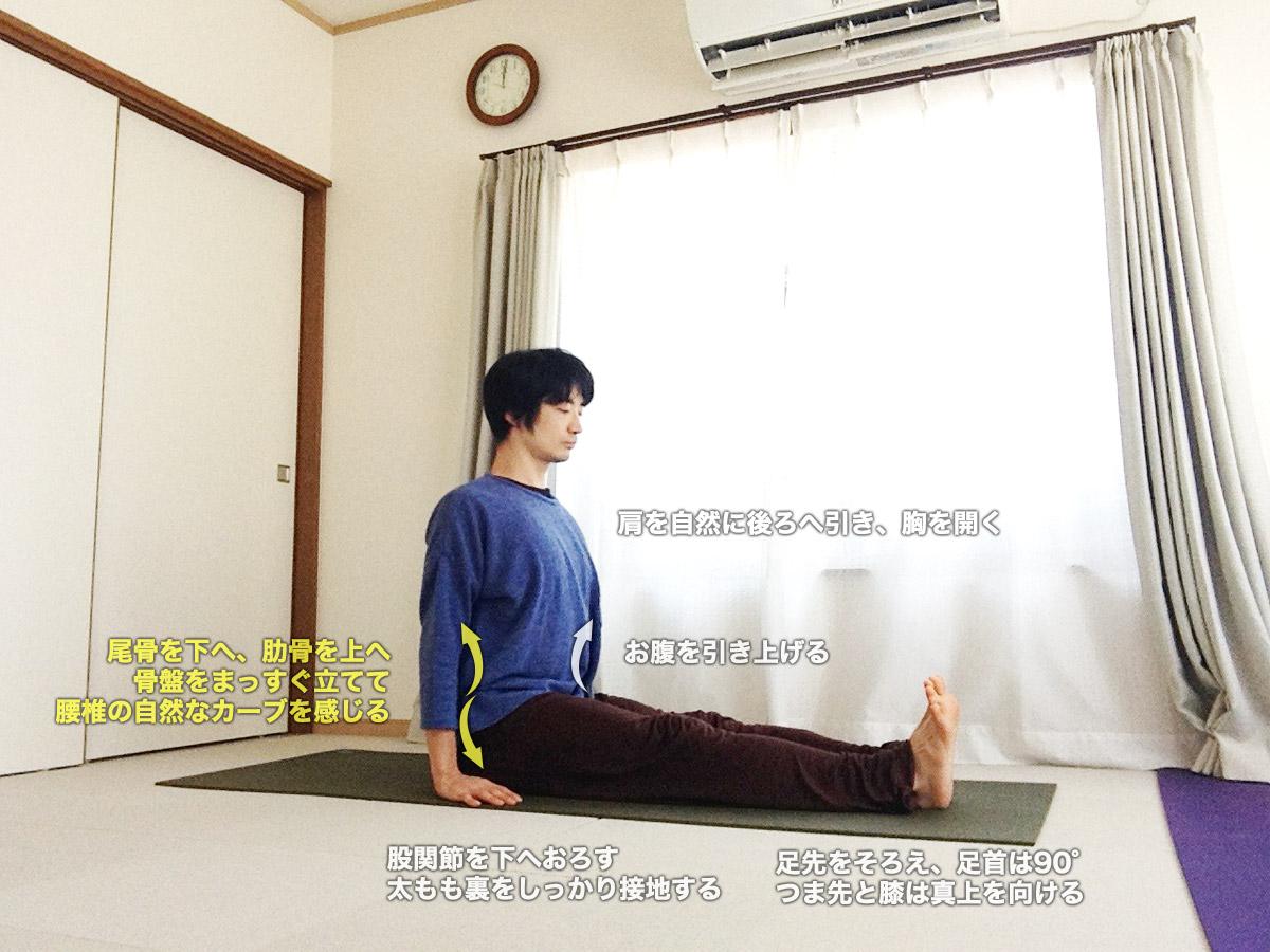 ダンダーサナ(長座)〜坐位の基本ポーズ、骨盤を立てて姿勢を整える〜
